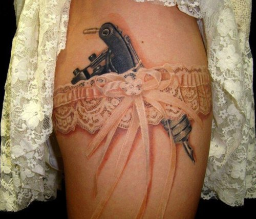 Tattoo Gun and Garter Tattoo