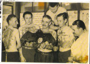 1950s pic of Les Skuse and members of the Bristol Tattoo Club