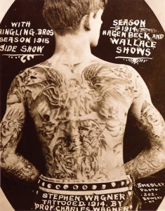 Wringling Brothers Circus Tattoo Man