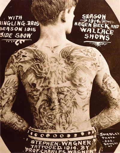 Tattoo History - Wringling Brothers Circus Tattoo Man